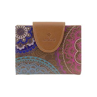 Billetero piel Mandalas Amichi Talla: U Color: CUERO: Amazon.es: Ropa y accesorios