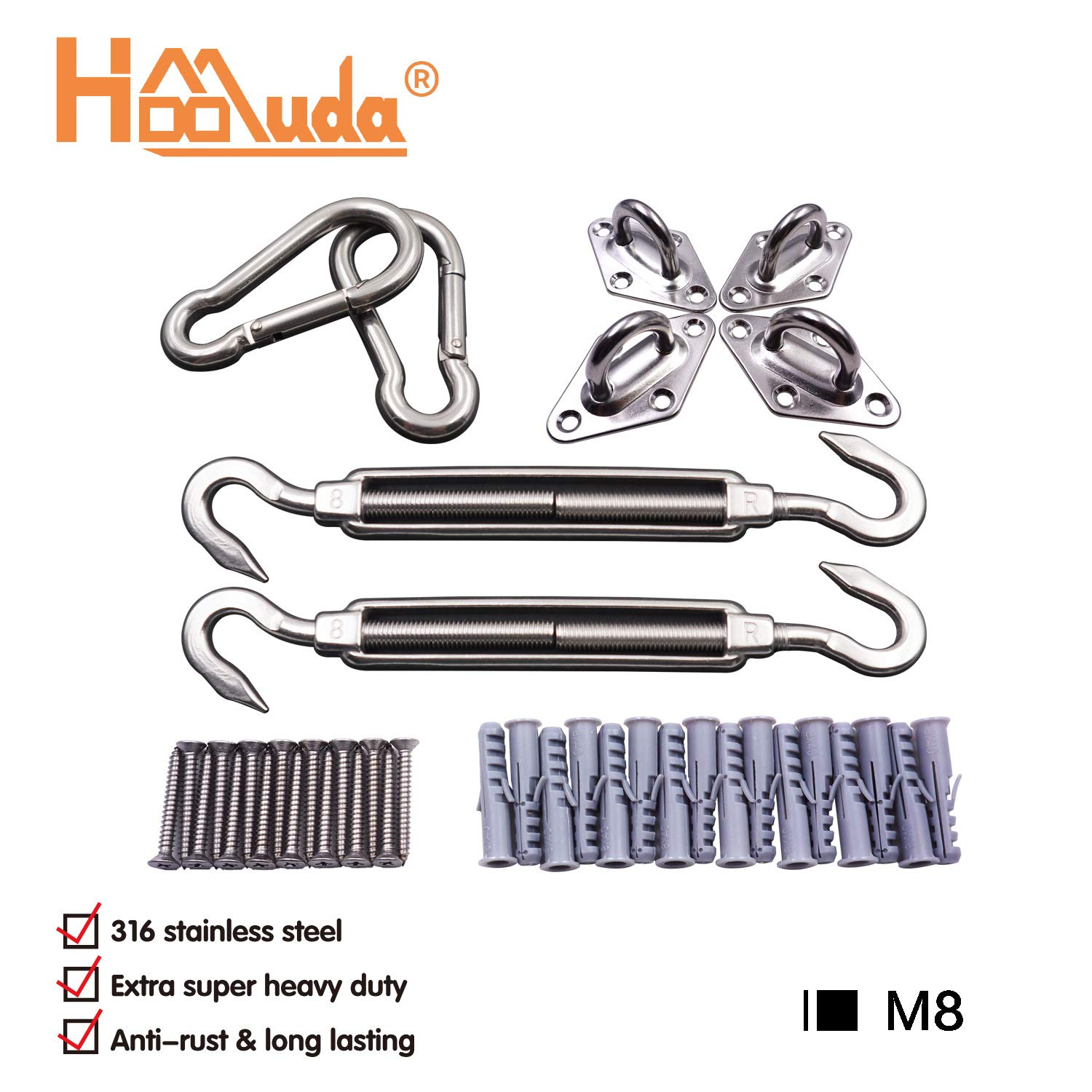 8 Inch Sun Shade Sail Hardware Kit for Rectangle & Square Sun Shade Sail- Super Heavy Duty & Anti-Rust 316 Marine Grade Stainless Steel Made by Hoomuda