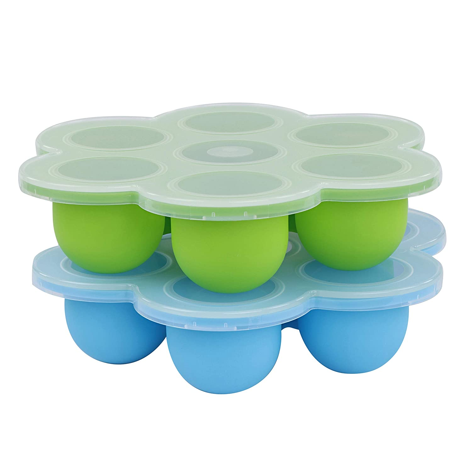 Acorn Baby Silicone Food Container with Thin Lid, 2PK - Blue and Green Meal Prep Container Freezer Trays