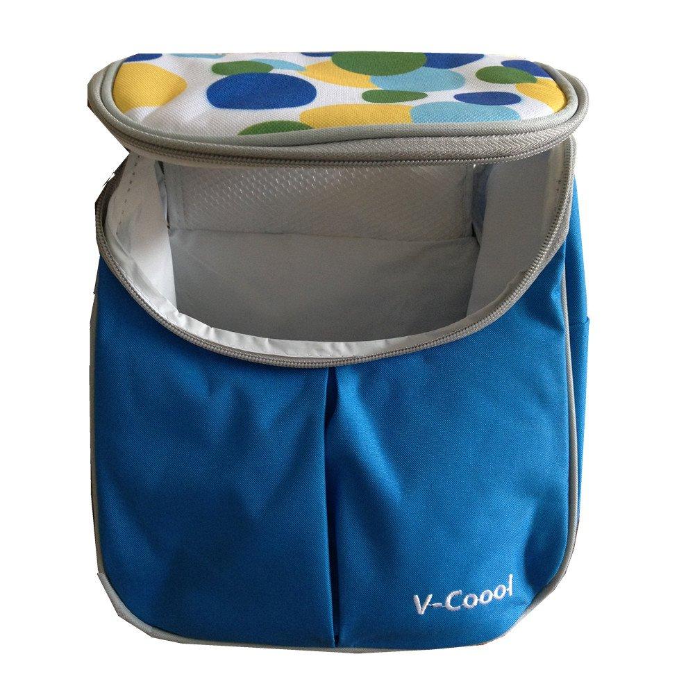 GenialES Bolsa Isot/érmica de Biber/ón Comida Port/átil con Aislamiento Colchoneta Comida para Picnic 22,5*16*24cm Azul Cielo