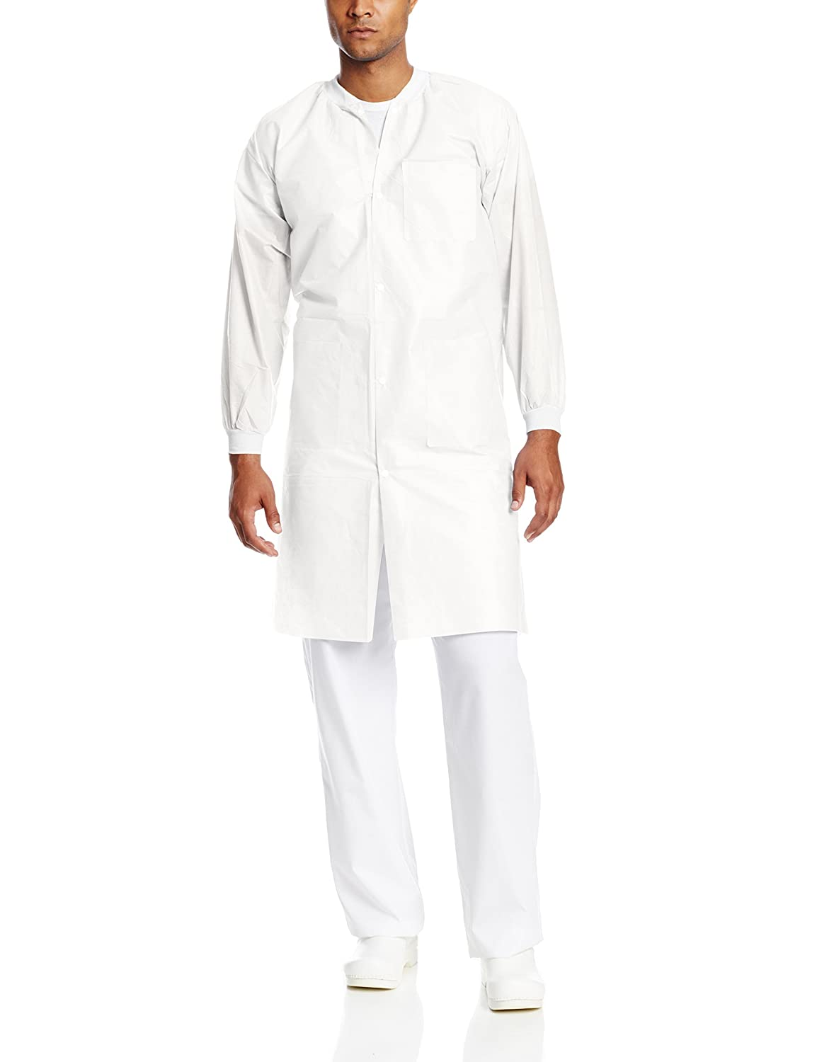 ValuMax 3660WHL-T Traditional Shirt Collar Pack of 10 L White Disposable SMS Knee Length Lab Coat Extra-Safe Wrinkle-Free