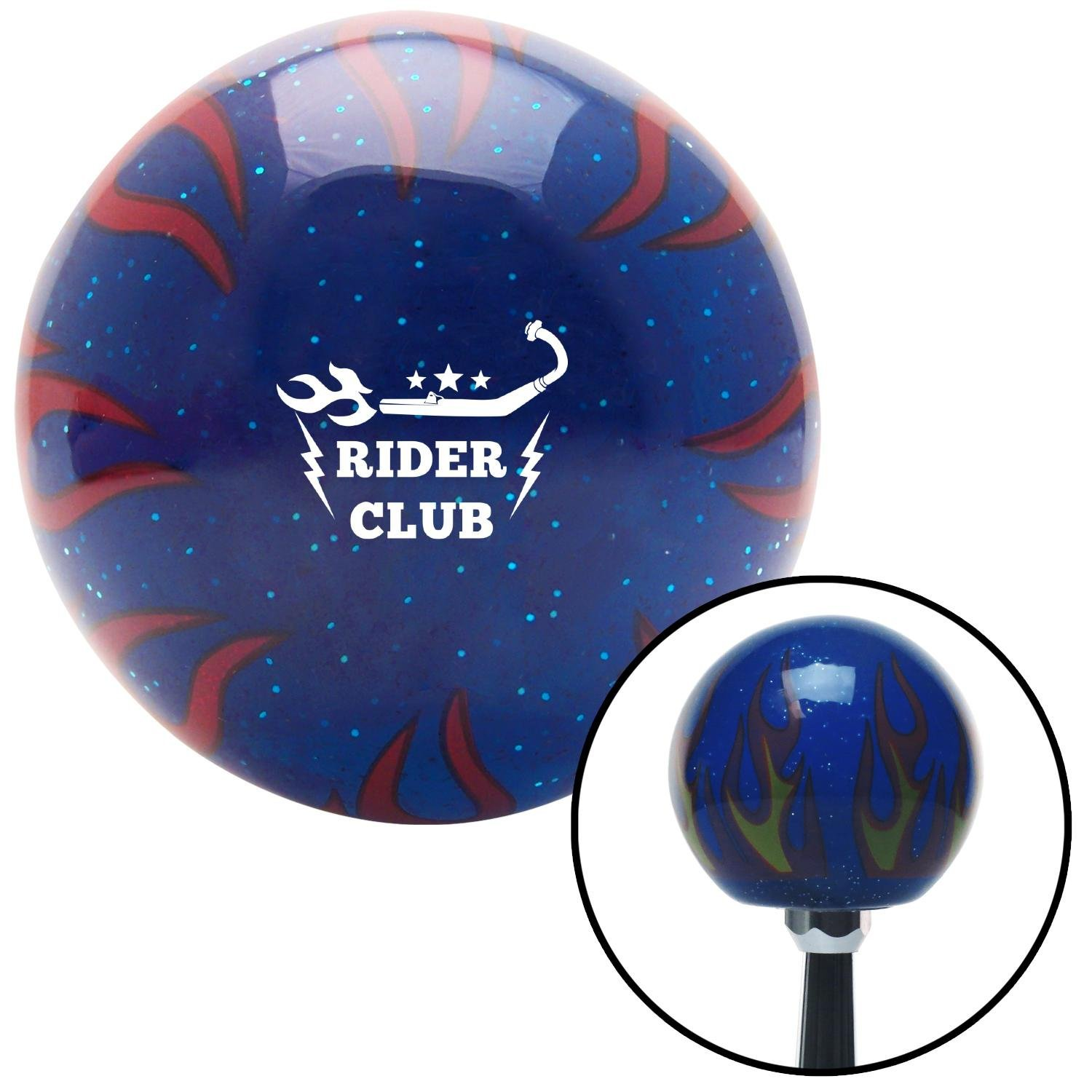American Shifter 298094 Shift Knob White Rider Club Blue Flame Metal Flake with M16 x 1.5 Insert