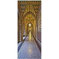 LUOWAN Behang Zee Sticker Diy Deursticker Slaapkamer Muurschildering Behang - Paleis Architectuur Gouden Kunst - 77x200…