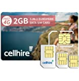 Cellhire Prepaid 4G Europe Data SIM Card - Europe 2GB Bundle - 33 countries - 3-in-1 SIM