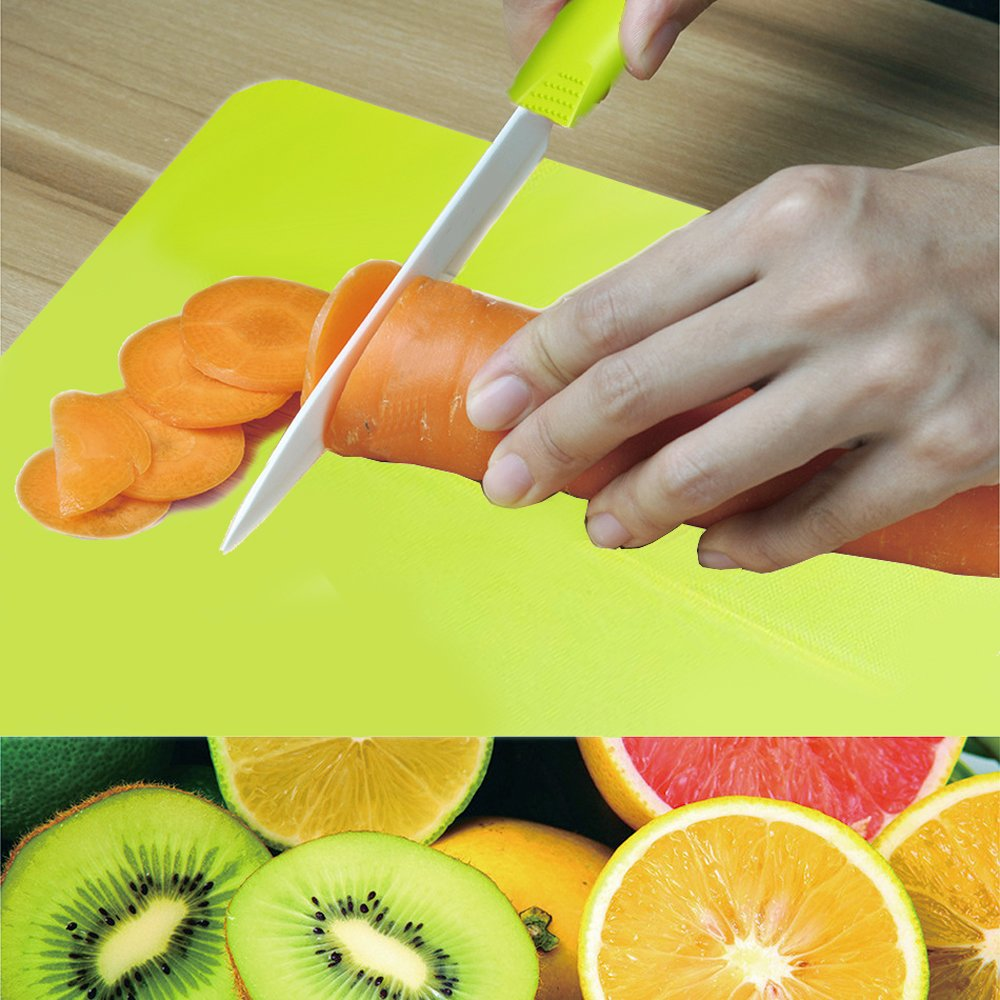 Kioos Foldable Cutting Board And 5 Inch Ceramic Knife Set Multifunctional Chopping Block and Chute with Portable Camping Outdoor Cutlery Green by Kioos (Image #3)