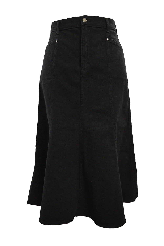 6dabdf1ae5 Ice Cool Ladies Long Flared Black Stretch Denim Skirt - Sizes 10 to 22, in  30
