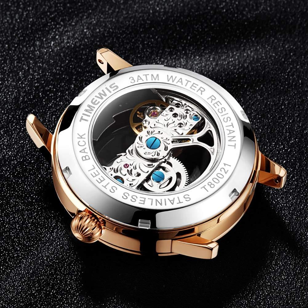 Gskj herrklocka mekaniska klockor helautomatisk ihålig metallmodeklocka läderrem klassisk och elegant design lyxig vattentät affärsklocka E