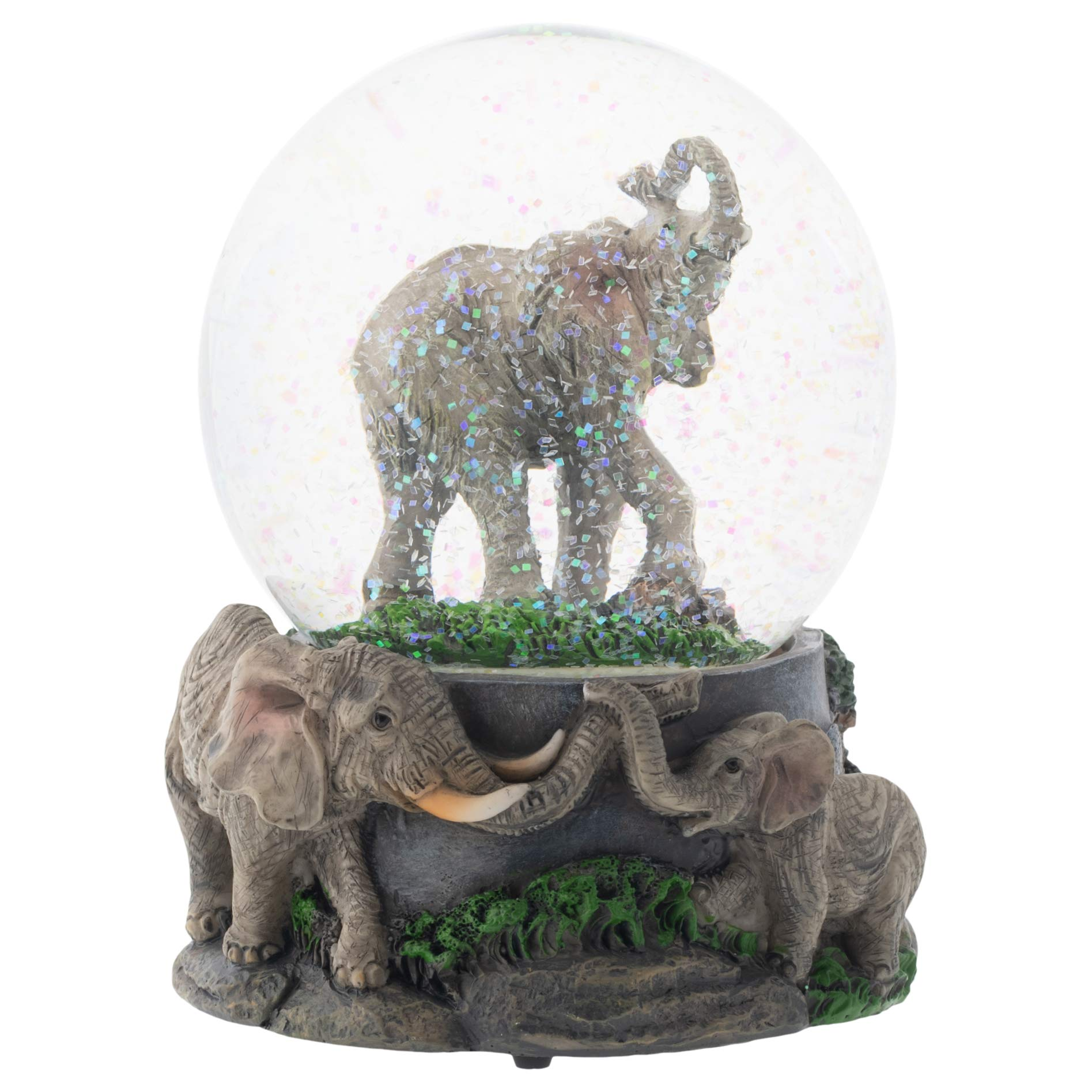 Elanze Designs Elephant Pride Family 100MM Musical Water Globe Plays Tune Born Free
