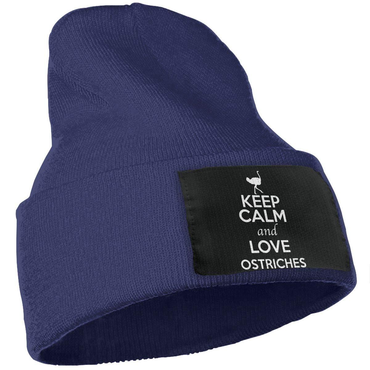Keep Calm and Love Ostriches Warm Winter Hat Knit Beanie Skull Cap Cuff Beanie Hat Winter Hats for Men /& Women