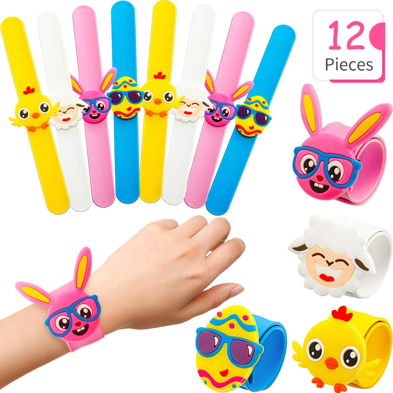 New 12 Pcs DIY Blank Slap Bracelets Party Favors Easter for Kids Art Craft Gifts