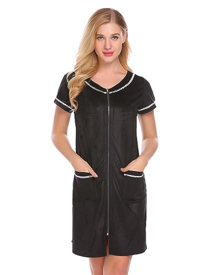 Ekouaer Women s Bathrobe O-Neck Robe Sleepwear with Pockets Zipper Soft  Night Shirt Black 3e20773d1