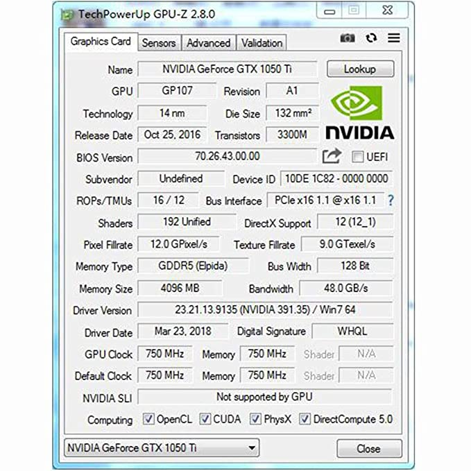 QYWJ GTX 1050Ti Tarjeta Gráfica, GDDR5 de 4GB de 128 bits Tarjeta ...