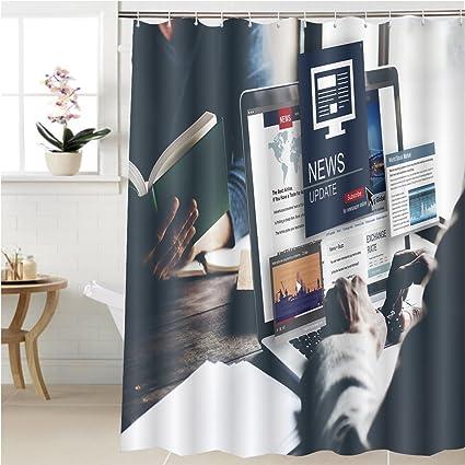 Gzhihine Shower Curtain News Update Journalism Headline Media Concept Bathroom Accessories 69 X 90 Inches