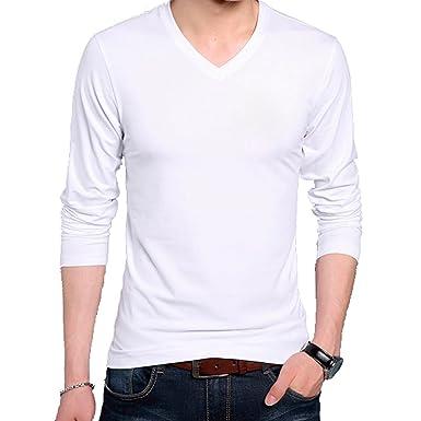 e891e0549b Wild Thunder Men's Cotton Full Sleeve V Neck Plain T Shirt (White, Small)