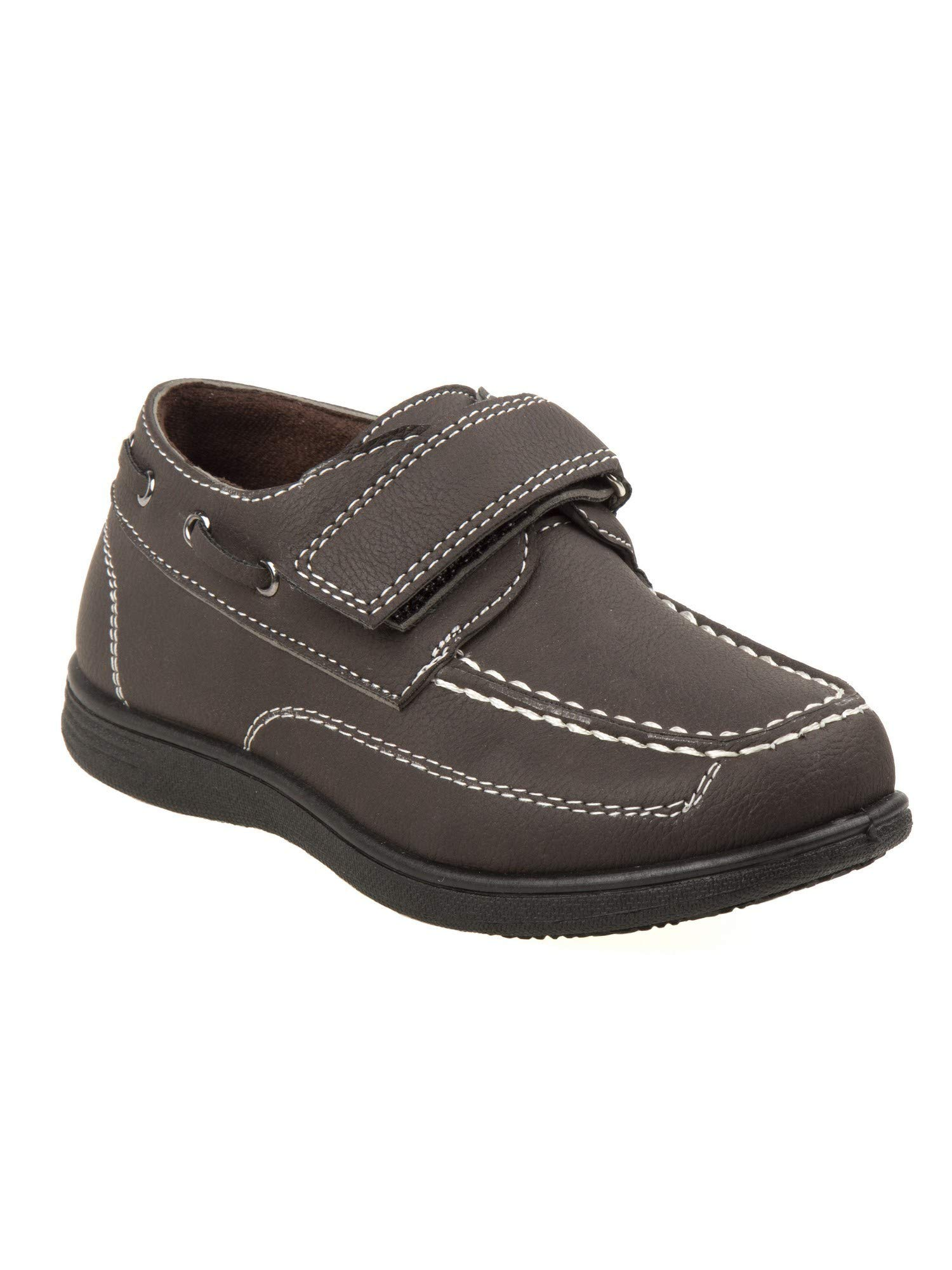 Josmo Boys Brown Stitching Detail Hook-And-Loop Strap Boat Shoes 4 Kids