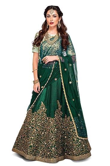 e012e27f12 Divya Enterprise Women's New Banglori Silk Designer Semi-stitched Lahenga  Choli (Green Zeli)
