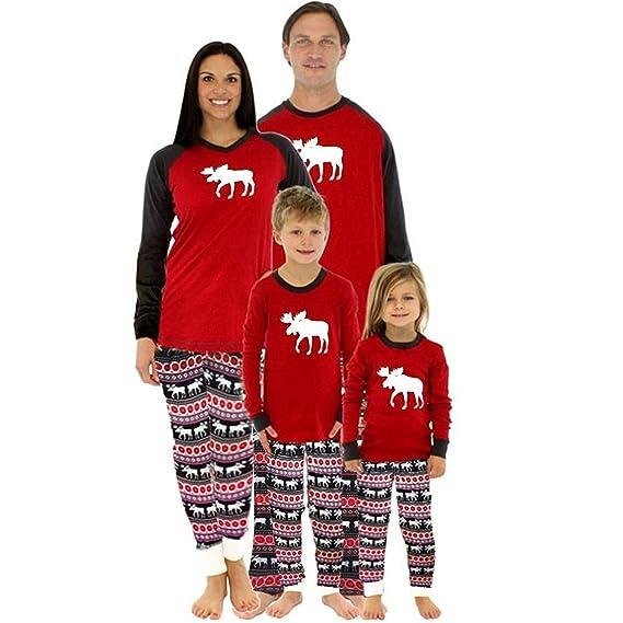Pijamas Conjunto De Pijama Familia De Navidad Ropa De Dormir Joven Bastante Navideños para Mamá Bebé/Niño/Adulto Impresión Reno Dos Piezas Xmas Homewear ...