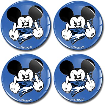 Skinoeu 4 X 60mm Aufkleber 3d Gel Silikon Autoaufkleber Stickers Micky Mittelfinger Blau Felgenaufkleber Für Radkappen Nabenkappen Radnabendeckel Rad Aufkleber Nabendeckel Auto Tuning A 3760 Auto