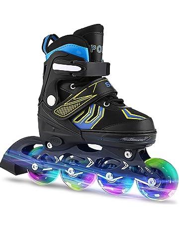 f9338e9186d WeSkate Inline Skates Kinder/Erwachsene verstellbar mädchen/Jungen Inline  Skates Rollschuhe PU Verschleißfeste Roller