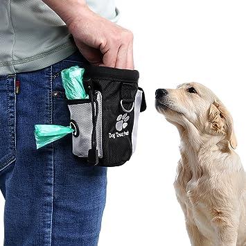 Kuiji Perro Tratar Cintura Bolsa Bolso Manos Gratis Mascota Perro Formaci/ón Cintura Bolso Comida Bolso con Incorporado Mierda Bolso Dispensador
