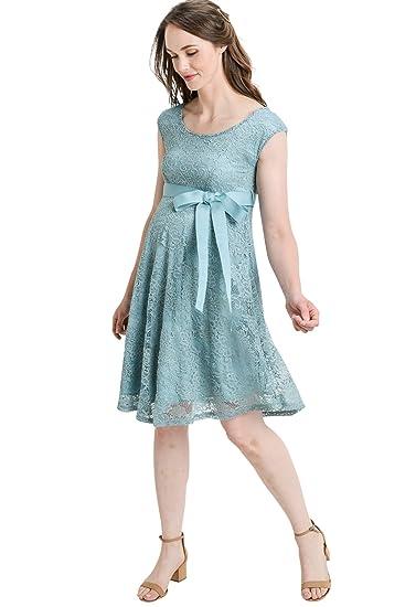 Hello MIZ- Vestido de Fiesta de Maternidad con Encaje Floral y Cintura - Azul - Large: Amazon.es: Ropa y accesorios