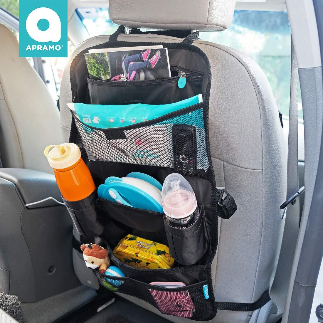 APRAMO Car Backseat Organizer with Multi Pockets Kids Toy Storage Back Seat Protector Kick Mat for Road Trips, Car Backseat Organizer for Baby Travel