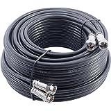 30m, Câble d'extension Double Pour Satellite TV / TNT. Câble Coaxial Noir. 4 x F-Connecteurs Avec 2 X Raccord Fiches F Femelle Femelle (connecteurs non équipés)