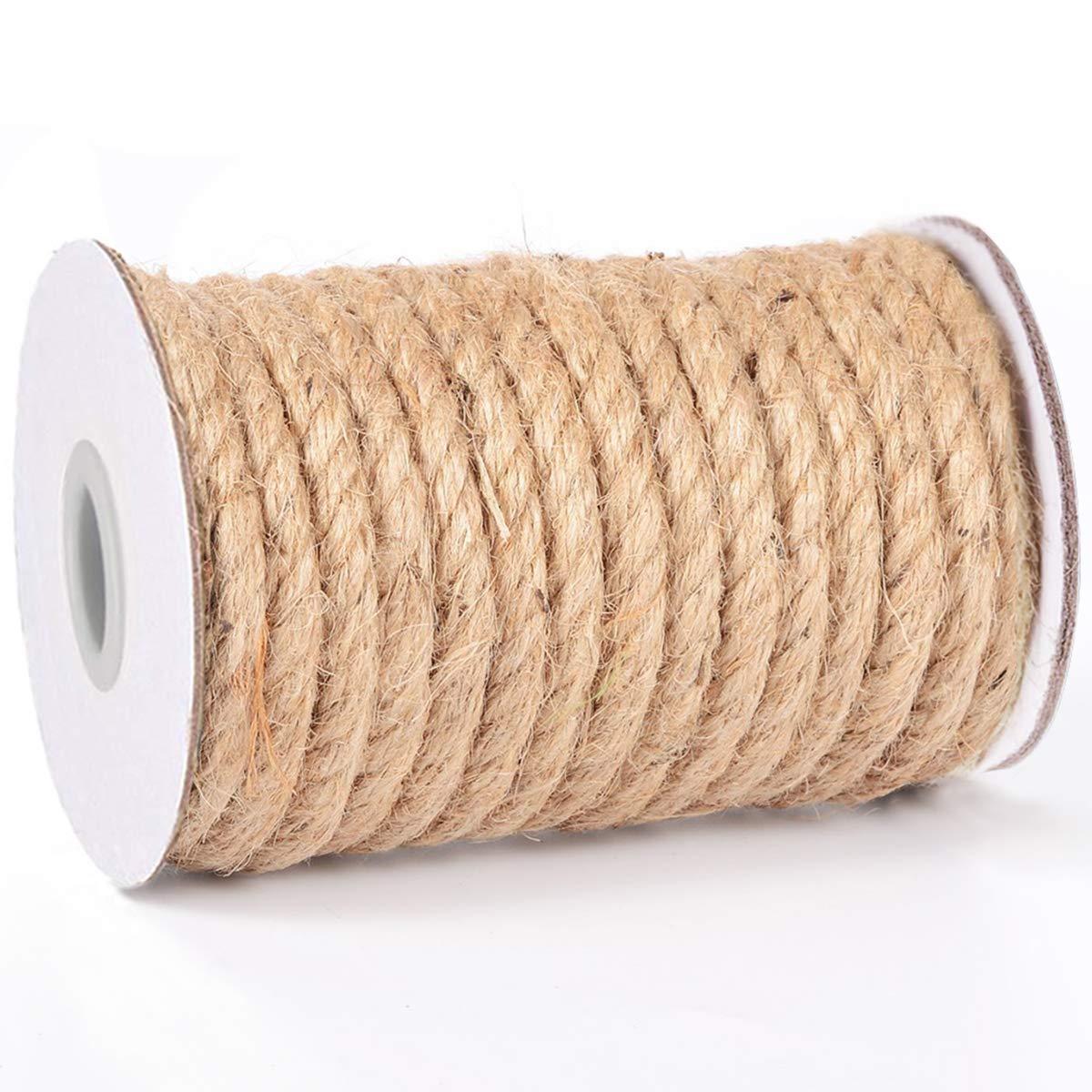 HOMYHOME Jute Rope Natural Jute Twine 8 mm Hemp Rope Cord Craft for Packaging Arts,Crafts Decoration Bundling Gardening Home 50 Feet