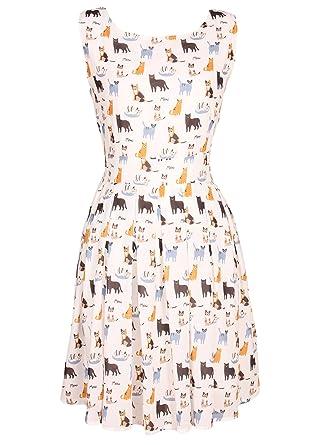 86f8f5bb79ee31 Sidecca Women s Cat Printed Sleeveless A-Line Dress (Small