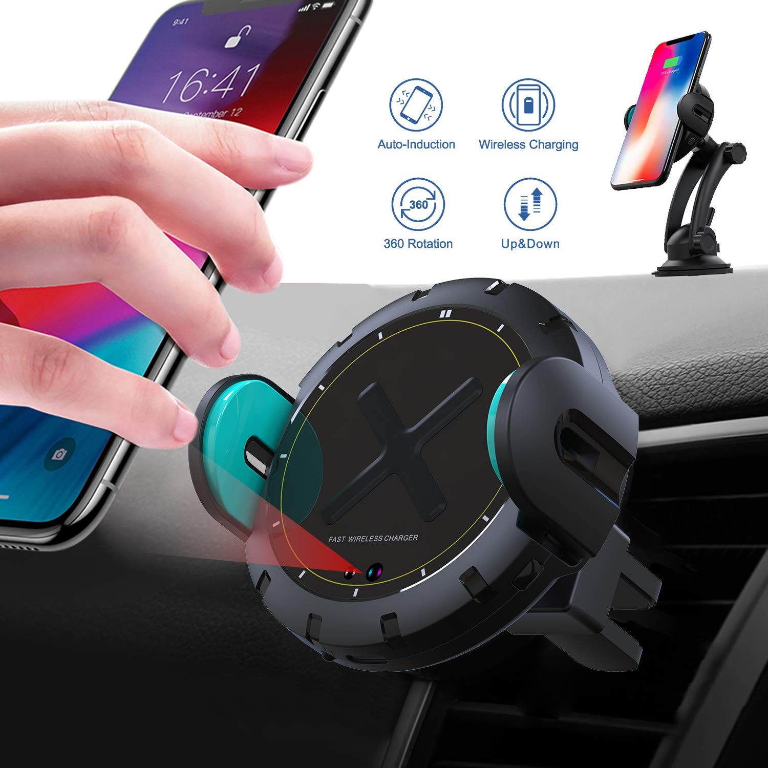 Wireless Car Charger Mount, [2019 Edition] KOAKUMA Auto-Clamping QI Fast Charging Car Mount Dashboard Air Vent Phone Holder Compatible iPhone Xs Max/XS/XR/X/8/8 Plus, Samsung S10/S10+/S9/S9+/Note9