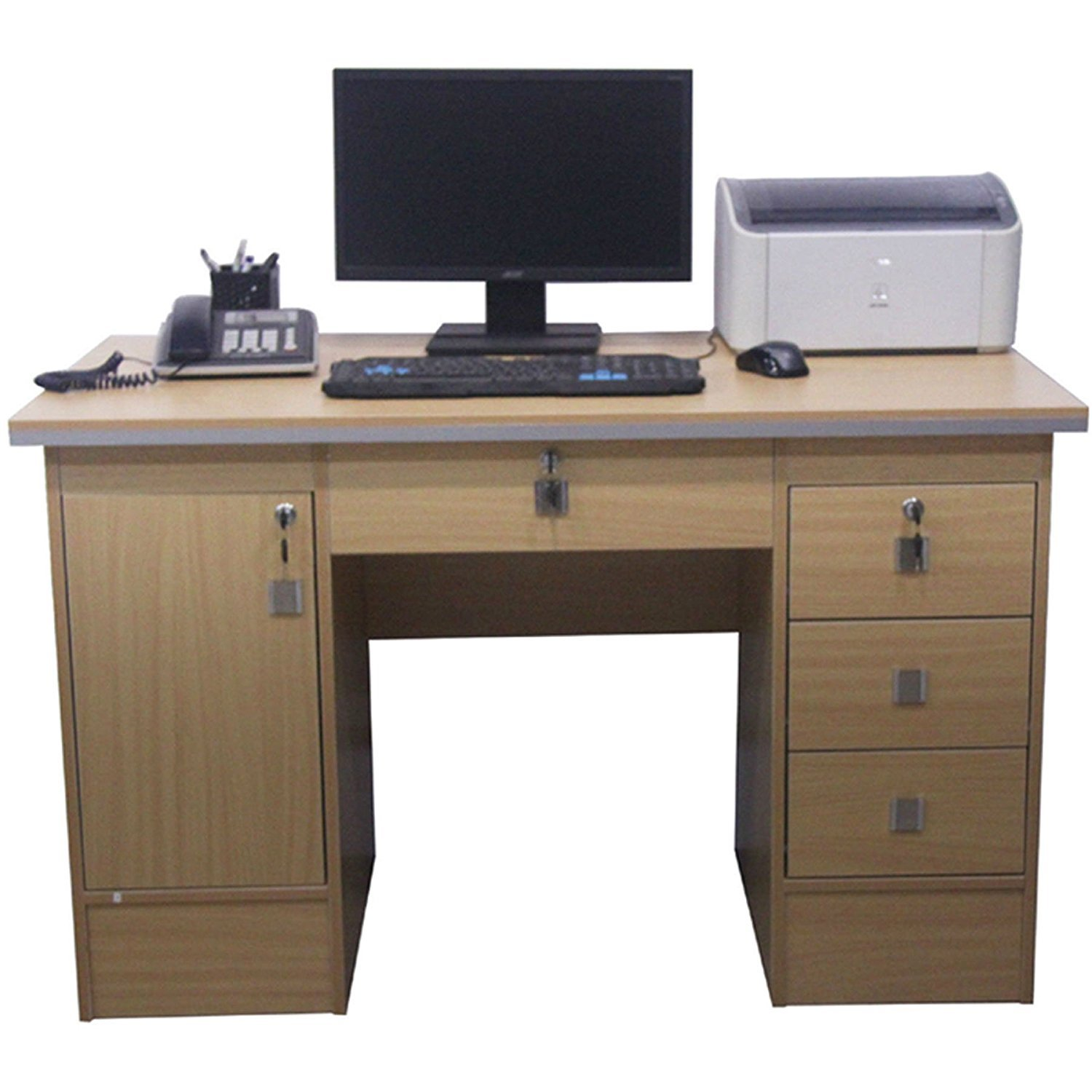 Computer Desk,Corner Computer Workstation,PC Table Home Office Furniture with 3 Locks. (Beech Desk 617/110) KSM
