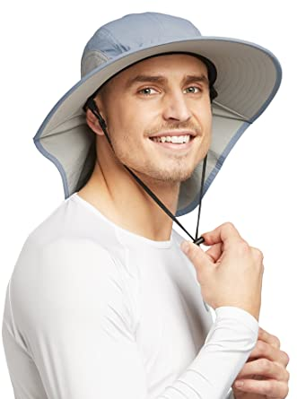 a1193182 Solbari UPF 50+ Mens Outback Sun Protection Sun Hat - 22 Inches - Blue Grey
