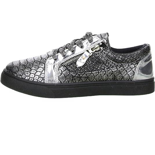 Topway Damen Sneaker Plateau Reptil Schlangenoptik Silber/Schwarz, Größe:40, Farbe:Silber