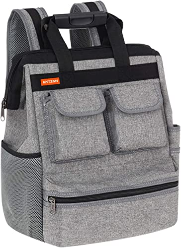 Justzon Backpack Tool Bag with Padded Back Support Heavy Duty Tool Kit Carrier Storage Bags for Electrician, Plumber, HVAC, Cable Repairman