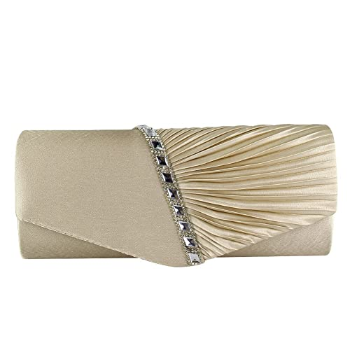 Diamante Satin Pleated Women Clutch Bridal Wedding Evening Ladies Prom Party Bag