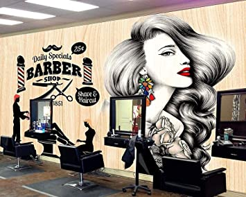 3d Wallpaper Beauty Salon Salon Hair Salon Photo Background Barber Shop Vintage Retro Makeup Mural Custom Decor Wallpaper 250x175cm Amazon Com