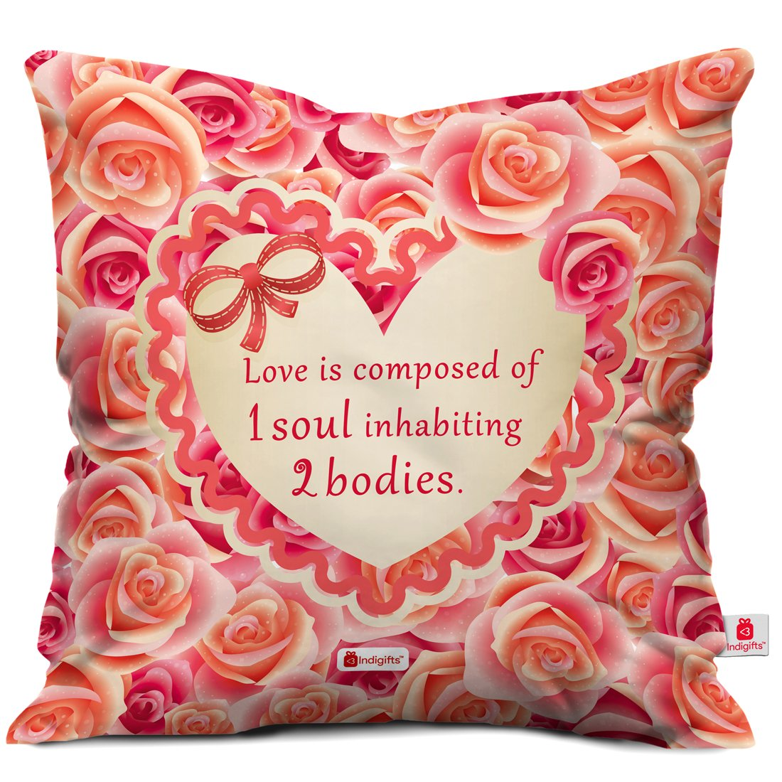 Love Decoration indibni Valentine Gifts Love is Composed of One Soul Quote Designed in Roses Pink 16x16 Cushion Throw Pillow Cover Home-D/écor Halloween Valentine Xmas