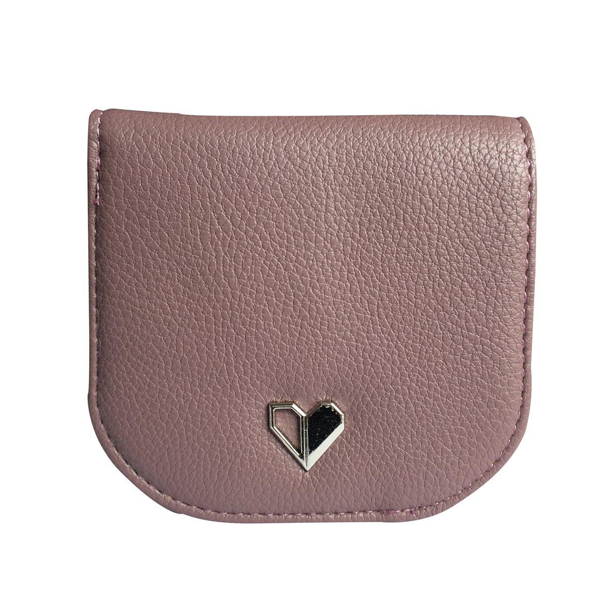 HeySun Fashion Compact Wallet Purse Simple Card Holder Lightweight Snap Money Clip for Women (Lavender)