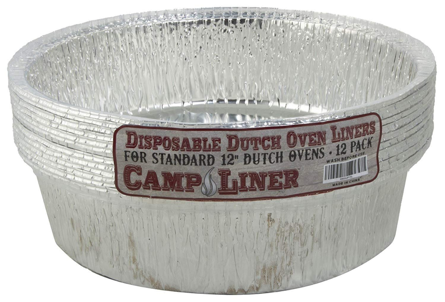"Campliner Disposable Foil Dutch Oven Liner, 12 Pack 12"" 6Q liners, No more Cleaning or seasoning, perfect accessory. Lodge, Camp Chef"