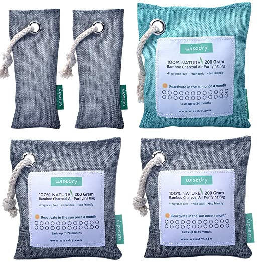 wisedry Bolsa Purificadora de Aire, Carbón Activado De Bambú, Ambientador Natural Eficaz y Desodorante para Eliminar los Olores del Automóvil, ...