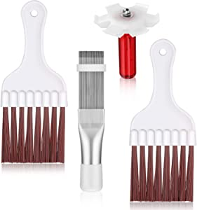 4 Pieces Air Conditioner Condenser Fin Cleaning Brush Coil Condenser Brush AC Fin Comb Stainless Steel Air Refrigerator Fin Cleaner Whisk Brush, 3 Styles