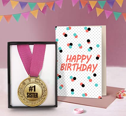TIED RIBBONS Birthday Gift For Younger Sister Golden Medal With Greeting Card Amazonin Office Products