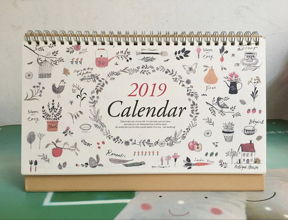 2019 Monthly Desk Pad Calendar with Stand, Twin-Wire Binding,July 2018 - December 2019,Monthly Planners For Office,School,Family,10''x6.7'' by MSUYACAN (Image #2)