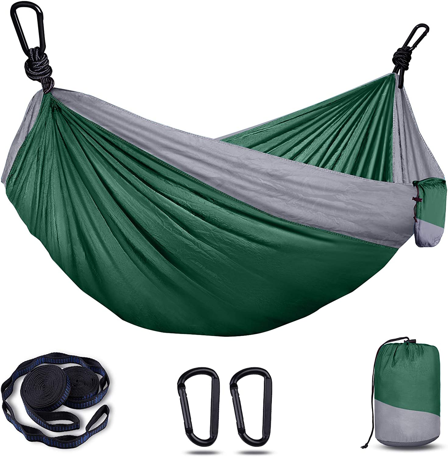Backpacking Travel Hiking 8+1 Loops Holarun Hammock Portable Nylon Hammock for Kid /& Carabiners Double Camping Hammock for 2 Adult Lightweight Parachute Hammock with Tree Straps Yard Garden