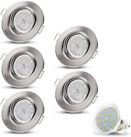 4er set 3W GU10 LED Strahler Deckenspots Einbaustrahler Set rund weiß chrom-matt