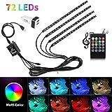 Car Interior Lights USB 4pcs 8 Color 72 LED Multicolor Music Car LED Strip Lights Car Atmosphere Lights