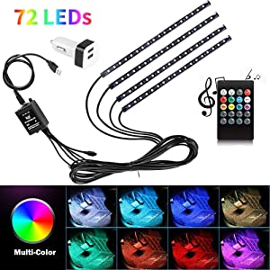 Car Interior Lights USB 4pcs 8 Color 72 LED Multicolor Music Car LED Strip Lights Car Atmosphere Lights, LED Strip for TV with Sound Active Function, Wireless Remote Control (USB Port)