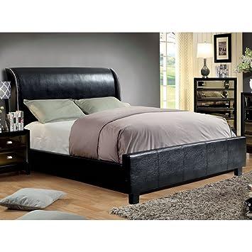 Amazoncom Furniture Of America Panteena Sleek Sleigh Bed Kitchen