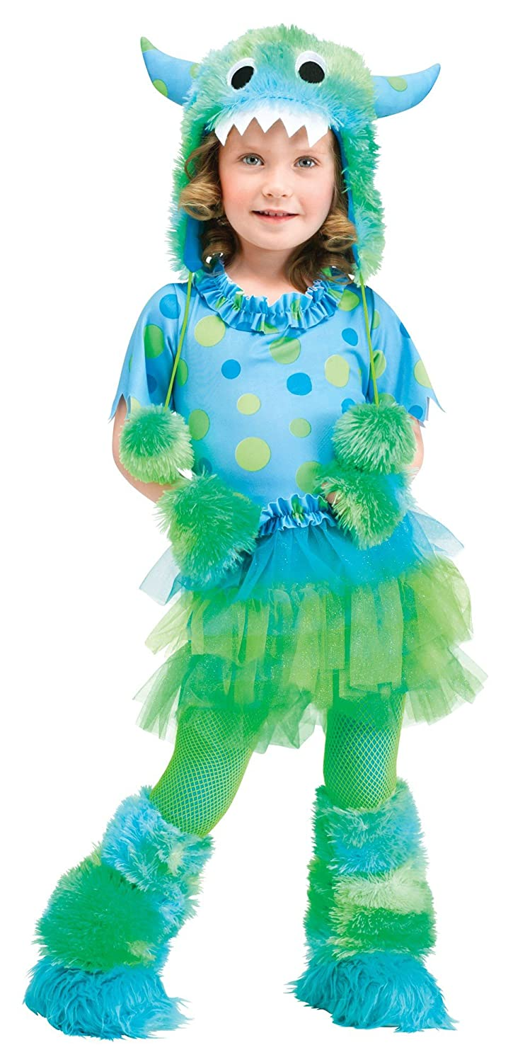 amazoncom fun world costumes baby girls monster miss toddler costume blue large 3t 4t toys games - Baby Monster Halloween Costumes
