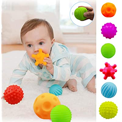 ROHSCE Baby Textured Multi Sensory Massage Ball set BPA Free for toddler Soft balls infant 6 month baby toys ball: Toys & Games